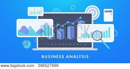 Business Analysis Financial Data Concept Illustration. Data Statistics And Analysis Business Account