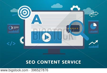 Seo Content Service Concept Illustration. Search Engine Optimization, Content Marketing With Keyword