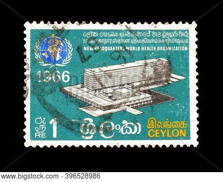 Ceylon - Circa 1966 : Cancelled Postage Stamp Printed By Ceylon, That Shows New Headquarter Of World