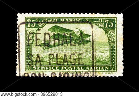 French Morocco - Circa 1927 : Cancelled Postage Stamp Printed By French Morocco, That Shows Old Sing