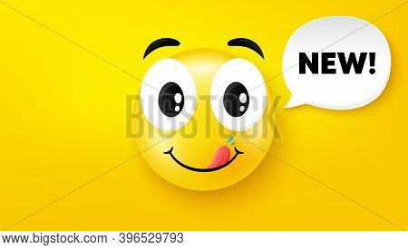 New Symbol. Yummy Smile Face With Speech Bubble. Special Offer Sign. New Arrival. Yummy Smile Charac
