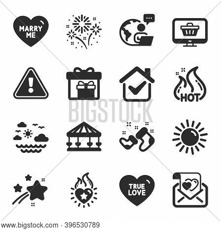 Set Of Holidays Icons, Such As Delivery Boxes, True Love, Heart Flame Symbols. Travel Sea, Sun, Love