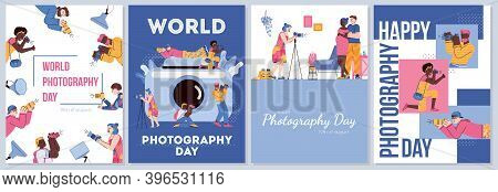 A Set Of Posters For World Photography Day. Professional Photographers With Digital Cameras Taking A
