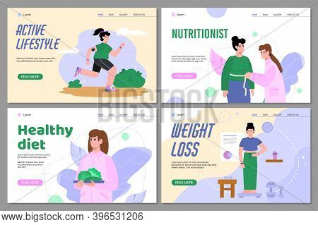 Nutritionists Professional Services Of Healthy Dieting And Weight Control Web Banners Set, Flat Cart