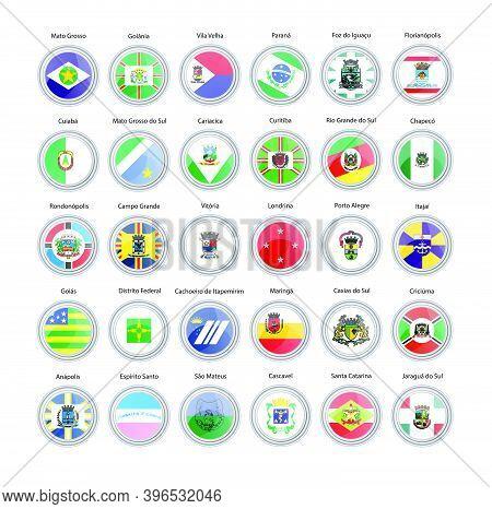 Set Of Vector Icons. Flags Of Mato Grosso, Goias, Mato Grosso Do Sul, Espirito Santo, Parana, Rio Gr