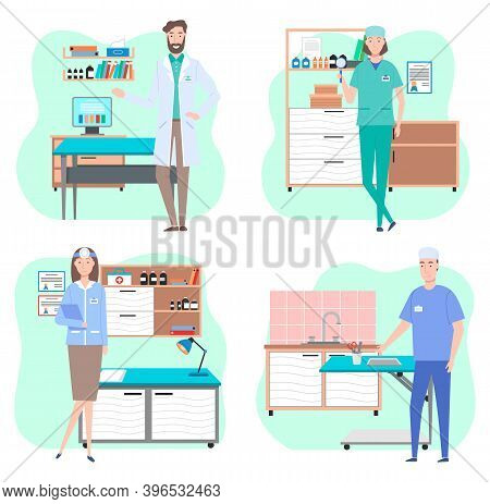 Veterinarian In Office In Vet Clinic, Woman And Man Medical Staff Wearing Suit Standing Near Table F
