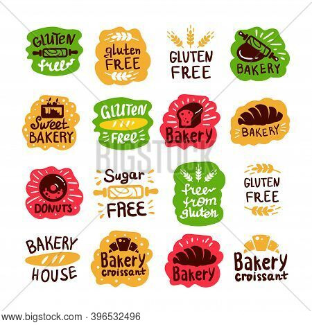 Bread And Bakery Products Logos, Gluten Free, Sugar Free Icons With Lettering. Bagel And Croissant A