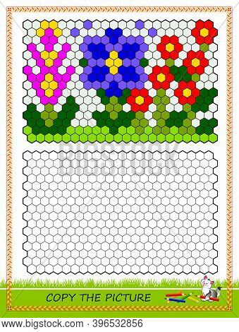 Educational Game For Kids. Copy Picture. Printable Worksheet For Children School Textbook. Draw The
