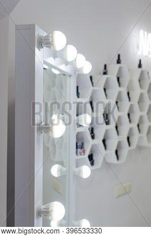 Make Up Mirror With Light Bulbs, Backstage Makeup Room, Selective Focus
