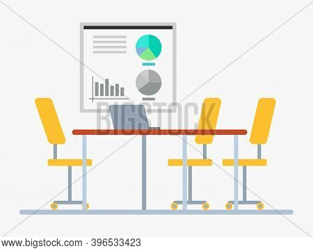 Conference Hall Vector, Empty Working Place With Whiteboard And Diagrams Visual Representation And C