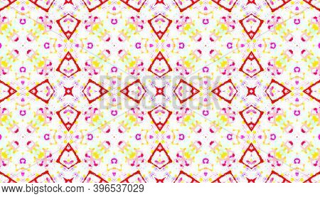 Water Colour Motif. Tie Dye Bohemian Abstract Wallpaper. Colorful And White Color. Handmade Ethnic O