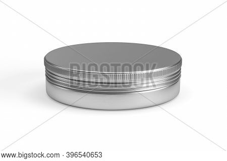 Metal Cosmetic Jar Mockup Isolated On White Background - 3d Render