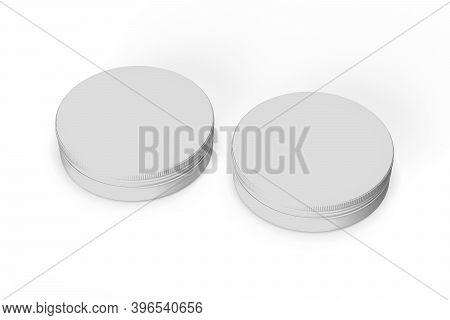 Cosmetic Jar Mockup - Two Cosmetic Jars On White Background - 3d Render