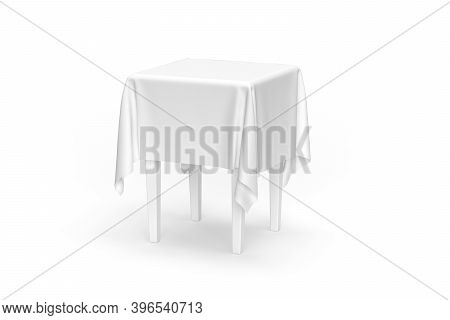 Small Table Mockup With Tablecloth Isolated On White Background - 3d Render