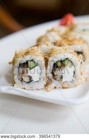 Japanese Sushi Rolls Served For Lunch On A Table