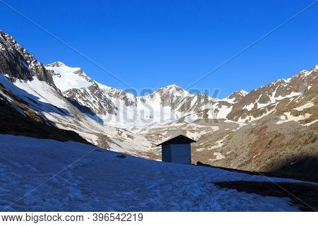 Mountain Snow Panorama With Glacier Sexegertenferner And Blue Sky In Tyrol Alps, Austria