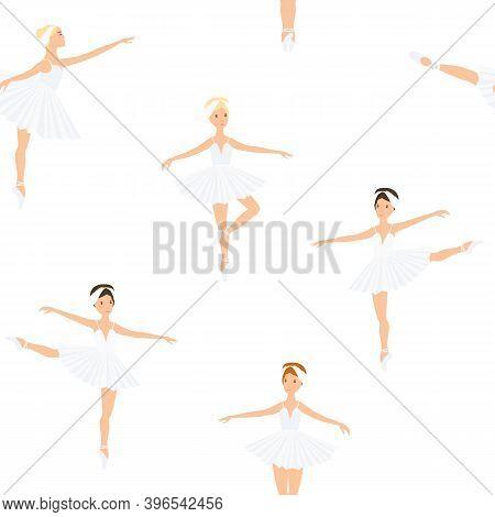 Ballerina, Ballet Dance, Little Swans. Seamless Pattern, Set. Swan Lake Stage. Vector Graphics Illus