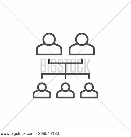 Genealogical Tree Line Outline Icon Isolated On White. Family Scheme. Vector Illustration