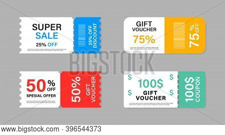 Coupon Promotion Sale Collection. Vector Isolated Elements. Coupon Ticket Card. Super Sale Coupon Di