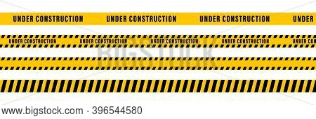 Under Construction Yellow Ribbon Tape. Vector Isolated Elements. Safety Sign. Cauntion And Danger Ri