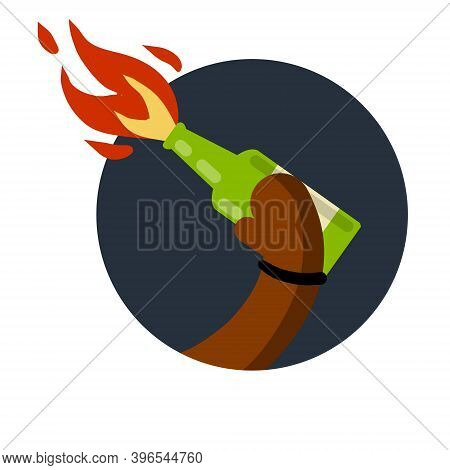 Molotov Cocktail. Fire And Bottle. African-american Holds In Hand Weapon Of Revolt And Protest. The