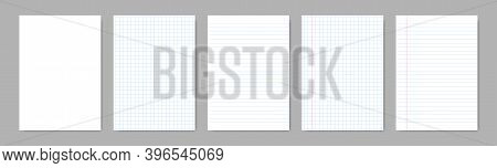 Paper Blank Sheets With Lines. Vector Isolated Papers A4 With Lines Grid. Grid Page Notebook With Ma