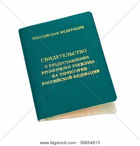Bescheinigung über die vorübergehende Asyl In Russische Föderation