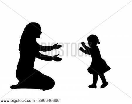 Silhouette Of Little Daughte Taking The First Steps Towards His Mother. Illustration Symbol Icon