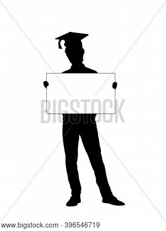 Silhouette Young Man Student Holds Banner Placard Blank White Sheet For Text Space. Illustration Sym