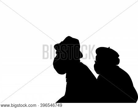 Silhouettes Of Grandparents In Medical Mask Closeup. Illustration Symbol Icon