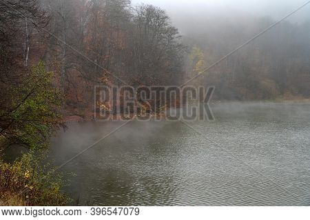 Fog Covers The Forest By The Blue Lake In Kabardino-balkaria.