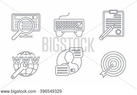 Online Management Icons Set In Thin Line For Internet Marketing, Site Maintenance Contact Center, Ta