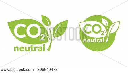 Co2 Neutral Green Rough Textured Stamp - Carbon Emissions Free (no Air Atmosphere Pollution) Industr