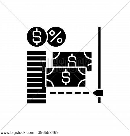 Microcredit Black Glyph Icon. Support Entrepreneurship Extension Of Very Small Loans Called Microloa