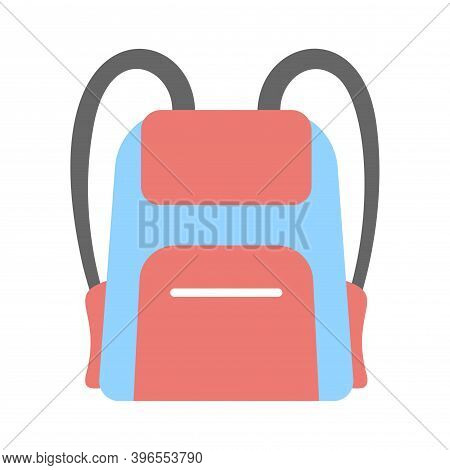 Realistic Backpack Icon In Flat Style. Bag For School, Traveling, Camping. Rucksack, Knapsack Icon.