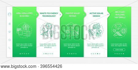 Sustainable Architecture Onboarding Vector Template. Efficient Energy Consumption. Eco Friendly. Res
