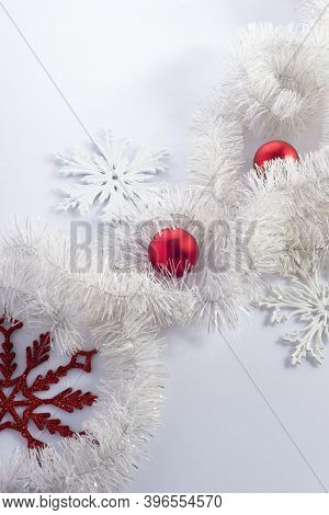 Christmas Flatlay Red Decorations On A White Background. View From Above. New Year Concept, Copy Spa