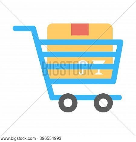 Loaded Shopping Cart Icon In Flat Style. E-commerce Store Sign.