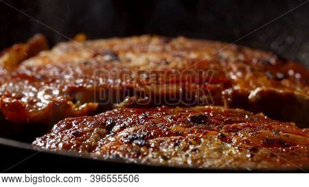 Marbled Beef Is Cooked In A Pan.