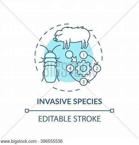 Invasive Species Turquoise Concept Icon. Ecosystem Preservation. Insects, Animal Population. Wildlif