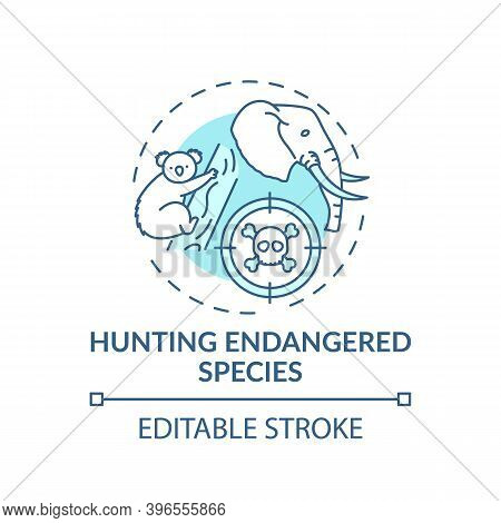 Hunting Endangered Species Turquoise Concept Icon. Biodiversity Loss. African Animal Abuse. Australi