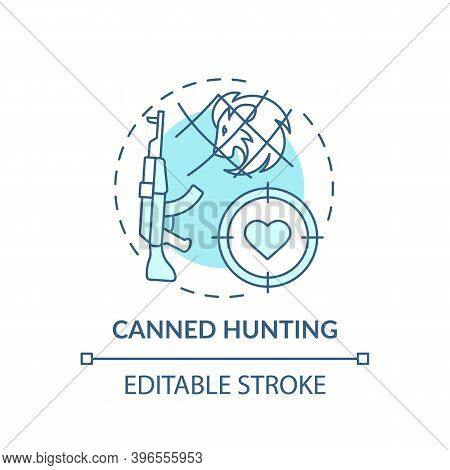 Canned Hunting Turquoise Concept Icon. Aim With Rifle. Endangered Nature. Animal Abuse And Wildlife