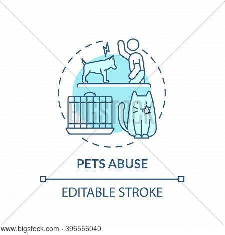 Pets Abuse Turquoise Concept Icon. Harm From Owner. Violence To Dog. Aggression And Punishment. Anim