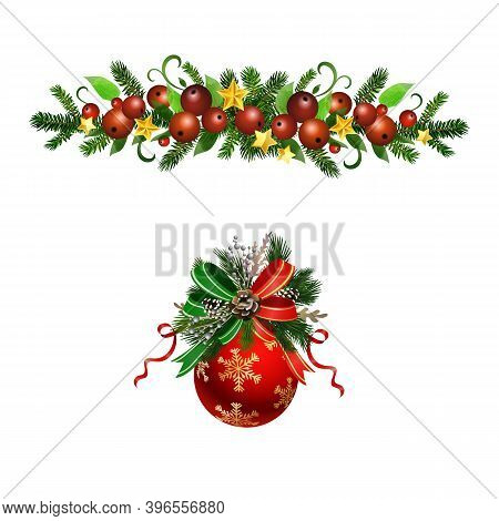 Christmas Holly And Pine Brunches Decoration Set Vector
