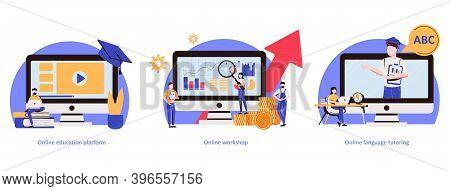Distance Web Learning Abstract Concept Vector Illustration Set. Online Education Platform, Workshop