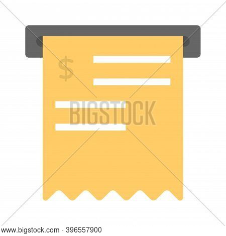 Atm Prints Receipt Icon In Flat Style. Sales Or Purchase Receipt Symbol.