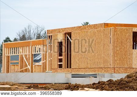 Construction Of The First Floor Of A Plywood House Plywood Slab