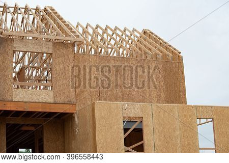 Wall And Rafters Of A Plywood House Wood Frame