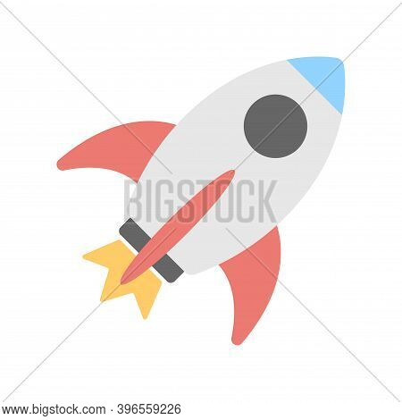 Rocket Launch Icon. Startup Sign. Business Product Launch Sign. Flat Icon Design For Perfect Website