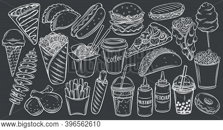 Street Food Icons On Black Chalkboard, Vector Monochrome Outline Hand Drawn Illustration For Cafe Me